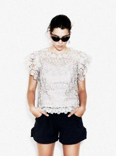 Young British Designers: The Margaux Lace Top by borne by Elise Berger - Luxe lace top to dress up or down as you will. We love it worn with updo, shades and shorts but it's also stunning with maxi skirt and heels, jeans and sandals .... etc