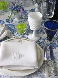 beautiful table setting in cobalt blue and white milk glass...punch of lime green or another punch of color...pretty for Easter or any time
