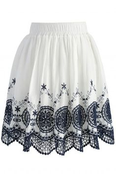 Dream Catcher Lace Cutout Pleated Skirt - Skirt - Bottoms - Retro, Indie and Unique Fashion