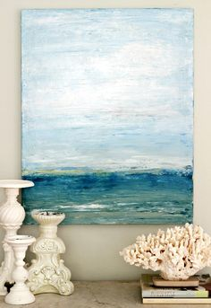 DIY Palette Knife Beach Art! http://beachblissliving.com/vacation-memories-photo-display-shell-decor-ideas/ Liked @ www.homescapes-sd.com #staging San Diego home stager (760) 224-5025 #beachart