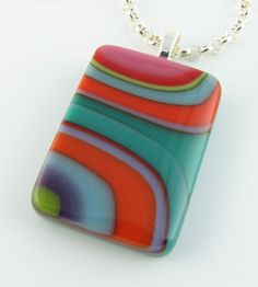Funky Retro Flowing Fused Glass Pendant by LindsaysDesigns on Etsy