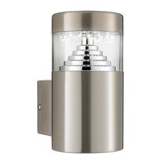 Searchlight 7508 LED Outdoor Stainless Steel Round Wall Light with Square Backplate (Searchlight 7508) - discounthomelighting