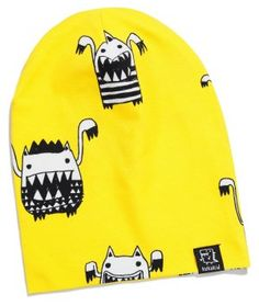 Kukukid Yellow Monsters Beanie - available for international delivery from online kids store www.alittlebitofcheek.com.au