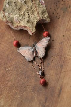 Necklace with real butterfly copper electroformed red by Galvanart