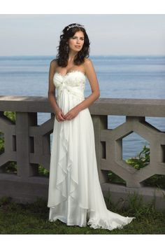 Empire Sweetheart Sweep/Brush Train Beach Chiffon Casual Lace Cheap Wedding Dresses #AUSA001210