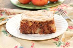 Chunky Apple Cake with Browned Butter Frosting is full of chunky apples, pecans and cinnamon. It's frosted with a delicious Browned Butter Frosting .