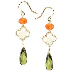 Lollies Carnelian and Green CZ Earrings
