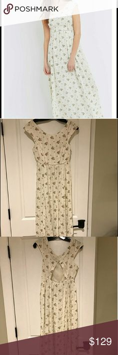 Urban outfitters floral linen dress Rare UO (same company owns free people) maxi dress with open back.  New NO TRADES THANKS!  PRICE FIRM, OR KEEPING, THANKS! free people Dresses