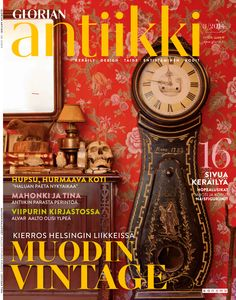 Magazine cover Wonderful tiny home with Victorian furniture and stuffed animals. Victorian Furniture, Alvar Aalto, September 2014, Stuffed Animals, Finland, Tiny House, Magazines, Clock, Vintage