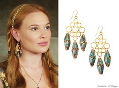 "fashion-of-reign: ""In the fourteenth episode Greer wears these sold out Devon Leigh Turquoise Bead Drop Earrings. Prom Earrings, Bridal Earrings, Crystal Earrings, Jewelry Sets, Fine Jewelry, Jewellery, Fashion Earrings, Fashion Jewelry, Reign Tv Show"