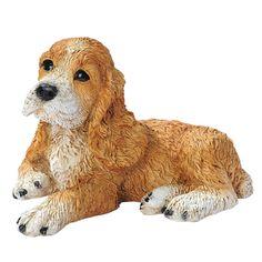 Brown Cocker Spaniel Puppy Dog Statue - CF2459
