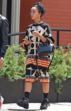 Street style by Fka Twigs. Idol. Colorful ethnic body suit. http://believeinmystyle.weebly.com/fashion.html