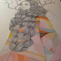 immigrant girl . . #julianacordaro #art #arte #watercolor #aquarela #chineseink #nanquim #immigration #refugees
