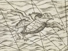 The flying turtle above comes from a map of northern Europe published in 1558. (British Library)