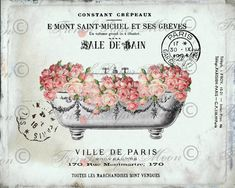 Vintage French Bathtub Roses salle De Bain French Typography Digital Collage Sheet Printable Transfer Large Size