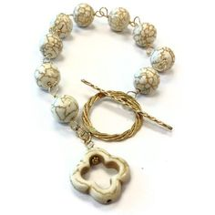 White Turquoise Bracelet Yellow Gold Jewelry by jewelrybycarmal, $39.00