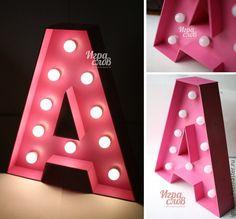 Купить Буква с лампочками - розовый, буквы, буквы для интерьера, буквы для декора, объемные буквы