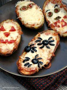 Halloween Baked Potato Skin Pizzas | alidaskitchen.com