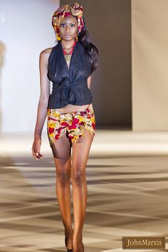 Alter neck waistcoat style top + mini skirt + head wrap @ African Fashion Week London 2011