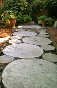 Circular concrete walkway for backyard area
