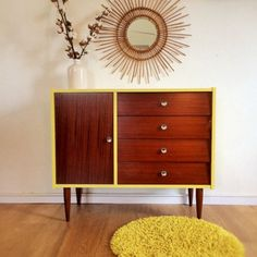 Chest of drawers, dresser, mid century modern, vintage, yellow color, model Pimprenelle