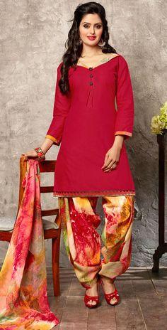 USD 23.27 Red Cotton Punjabi Suit 44929