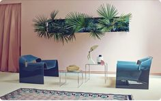 Pink Tropic room inspiration | Blue plastic armchairs | Living wall | Tropical wall art | Palm leaf wall | Inspiration for Livingetc Topics decorating feature | March 2016