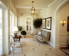 Lovely interior design with mirrored doors and a limestone floor #limestone #floor #home #interior #naturalstone