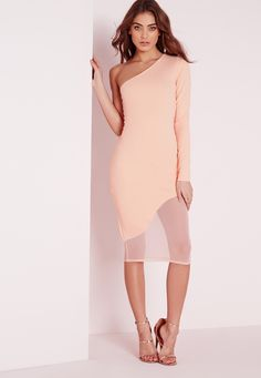 Missguided - One Shoulder Midi Dress Nude