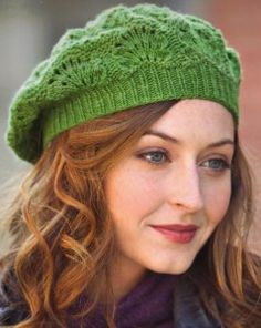 """Greenery Beret Kit - priced from $29.00 to $51.95. """"This beret uses a pretty variation of a classic feather-and-fan stitch."""""""