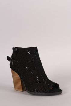 Qupid Perforated Suede Buckled Chunky Heeled Booties