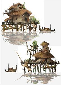 自己练习的一些小图。希望和大家多多交流学...: Fantasy Places, Fantasy World, Fantasy Art, Environment Concept, Environment Design, Building Art, Building Concept, Prop Design, Game Design