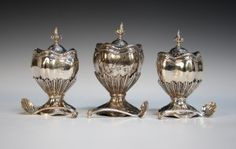 3 tea caddies by Nicholas Sprimont London 1743 Chelsea founder Nicholas Sprimont (1716-1771) was born in Liège and apprenticed as silversmith to his uncle Nicholas Joseph Sprimont. He came to England in 1742 and worked as a silversmith until he established the Chelsea factory in 1745. His work as a silversmith is of the highest quality and today examples are to be found in The Royal Collection. He worked in silver for such a short time that his silver objects are rare