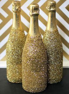 decoração com garrafas e gliter - Pesquisa Google