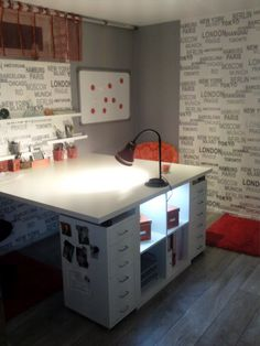 Workspace for two - IKEA Hack - I work/craft/blog/etc while kiddo does homework or crafts?  LOVE THIS!