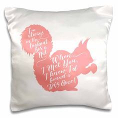 3dRose Funny Squirrel Design- Looking for a Nut- in Pink and White - Pillow Case, 16 by 16-inch