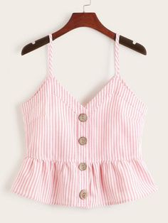 To find out about the Button Front Peplum Stripe Cami Top at SHEIN, part of our latest Tank Tops & Camis ready to shop online today! Girls Fashion Clothes, Teen Fashion Outfits, Girl Fashion, Girl Outfits, Clothes For Women, Casual Skirt Outfits, Crop Top Outfits, Stylish Outfits, Cute Outfits