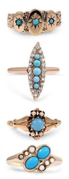 Turquoise and Gold Rings, If you like this item, please click www.shopprice.us