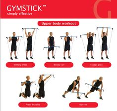 "GYMSTICK UPPER BODY WORKOUT ""Our Upper Body workout poster provides eight functional movements that hit all major upper body muscle groups"" #howtogymstick CLICK ON THE PICTURE to download entire poster."