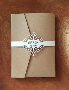 Celtic Knot Wedding Invitation Belly Band Set of 10