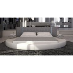 Modrest Rotondo - Modern Eco-Leather Bed with LED Lights