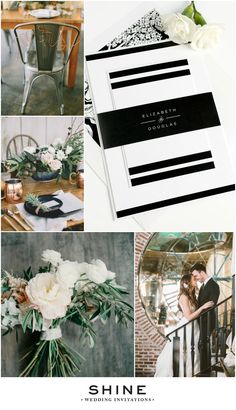 Modern Industrial Wedding Inspiration with our Modern Glamour Wedding Invitations | Copper, Concrete, White Bouquet