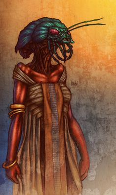 Lin from Perdido Street Station, a Khepri, one of the many species of intelligent life that live in New Crobuzon. Only females have humanoid bodies, and intelligent minds, while the males are literal dung beetles. Alien Concept, Concept Art, China Mieville, Bastet, Vikings, Pagan Festivals, Artistic Visions, Egyptian Mythology, Shadowrun