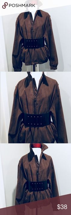 Vintage Coffee Oversized Bomber Brushed suede brushed brown Vintage bomber jacket with zippered front. Jacket is shown with the belt and is being sold together. Can be worn with or with out. Belt fits sizes M/L. vintage Jackets & Coats Utility Jackets