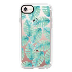 Modern hand painted green watercolor tropical leaves - iPhone 7 Case... (145 ILS) ❤ liked on Polyvore featuring accessories, tech accessories, iphone case, green iphone case, apple iphone case, clear iphone case, iphone cover case and iphone cases