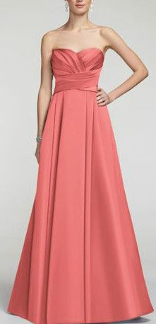 Elegant and timeless, this satin number will look fabulous on your #bridesmaids!  Strapless dress features stunning and ultra-flattering pleated bodice. Full long skirt with pockets adds drama and helps create a sleek silhouette. David's Bridal Bridesmaid Dress Style F15554 in Coral Reef.