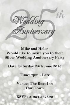 25th Wedding Anniversary Invitations Wording 25 yearspecial