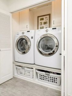 A small laundry room can be a challenge to keep laundry room cabinets functional, yet since this laundry room organization space is constantly in use, we have some inspiring design laundry room ideas. Tiny Laundry Rooms, Laundry Room Remodel, Laundry Room Organization, Laundry Room Design, Laundry In Bathroom, Small Laundry Closet, Small Laundry Area, Laundry Room Ideas Garage, Basement Bathroom