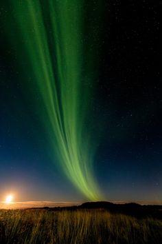 Aurora over lake Mývatn in Reykjahlíð, Iceland.