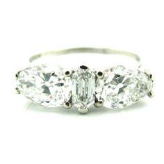 Unique Art Deco Platinum Diamond Engagement Ring by Birks Ellis Ryrie Three Stone Engagement Rings, Beautiful Engagement Rings, Vintage Engagement Rings, Diamond Engagement Rings, Diamond Rings, Vintage Rings, Art Deco Jewelry, Fine Jewelry, Jewelry Rings